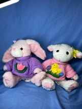 MTY International Bunny And Lamb Knitted Sweater Easter Plush Stuffed An... - $32.99