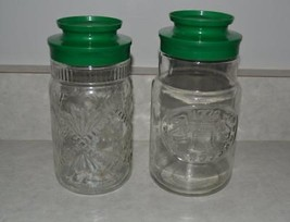 2 Vintage Coffee Jars Maxwell House Sanka Tang Anchor Hocking green lid craft - $7.71