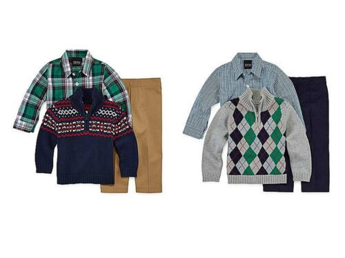 Infant Boy's TFW Baby Pant Set 3-pc 1/4 Zip Sweater Long Sleeve Shirt Pants