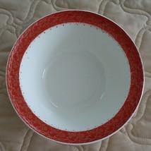"""Taylor Smith & Taylor Premier Red/Orange White Vegetable Serving Bowl 9"""" Vintage - $15.00"""