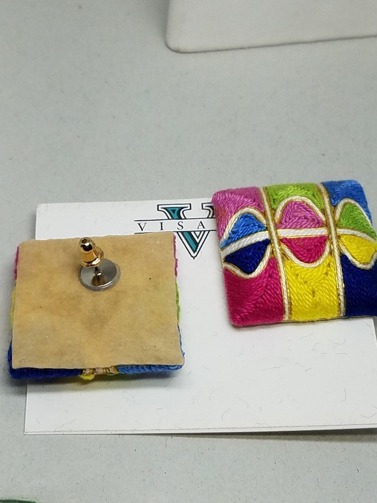 Multi Color Intricate Design Pierced Earrings Vintage New Old Stock