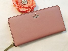 New Kate Spade Cameron Street Lacey Leather Zip Clutch Wallet Pink Bonne... - £105.47 GBP