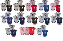 MLB Infant Boy's Home Run Bodysuit Set of 3 Baby Baseball Creeper Licensed NEW