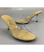 "Onex Womens 6 Venus Clear Lucide 3.5"" Heels Slide Mule Sandals Made in USA - $47.53"