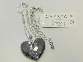 SWAROVSKI Crystal Gray Grey HEART Pendant  L & J Crystale Necklace NWT $... - $19.99