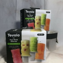 Tovolo Tiki Pop Mold Sleeves 2 Packs Of 4 and Tray New - $40.76 CAD