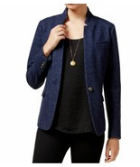 Maison Jules Womens Twill One-Button Long Sleeve Blazer 8 Navy Blue $99 - $21.00