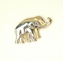 Vtg Elephant Brooch LC Silver Tone Gold tone Trunk Up Boho tribal ethnic - $6.88