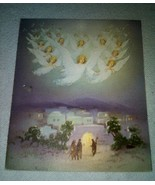 Angels Watching Over the Nativity Vintage Christmas Card - £5.78 GBP