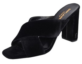 New YSL Saint Laurent Women's Black Velvet LOULOU Logo Heel Slip On Mule... - €248,79 EUR