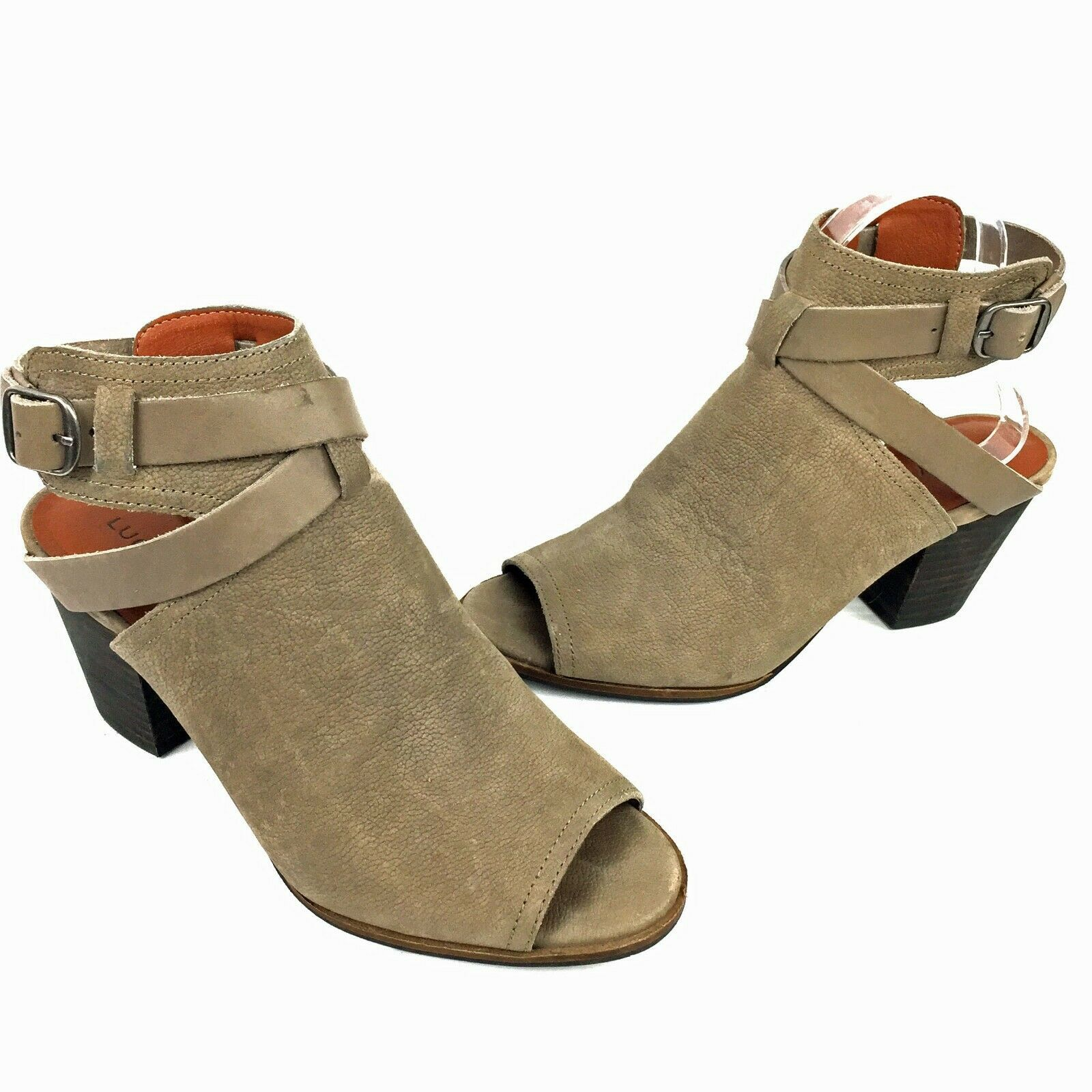 """LUCKY BRAND """"Harum"""" Taupe Bridle LeatherPeep Toe Open Back Booties Size 8 Med image 5"""