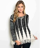 Playful Pattern Black and Ivory Acrylic Blend Pullover Fringed Sweater S... - $26.99