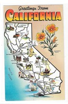 Greetings from California Illustrated Map Posted 1957 Vintage Postcard - $2.99