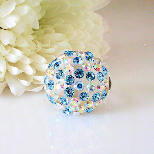 Clear Acrylic Domed Ring Numerous Blue & Rainbow Swarovski Elements Crystal Dome image 2