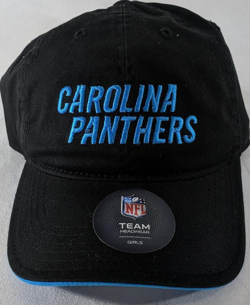 LZ NFL Team Apparel Girl's One Size Carolina Panthers Baseball Hat Cap NEW i23 image 2
