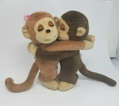VINTAGE 1975 PAIR DAKIN HUGGING MONKIES BOY & GIRL MONKEY STUFFED ANIMAL... - $64.52