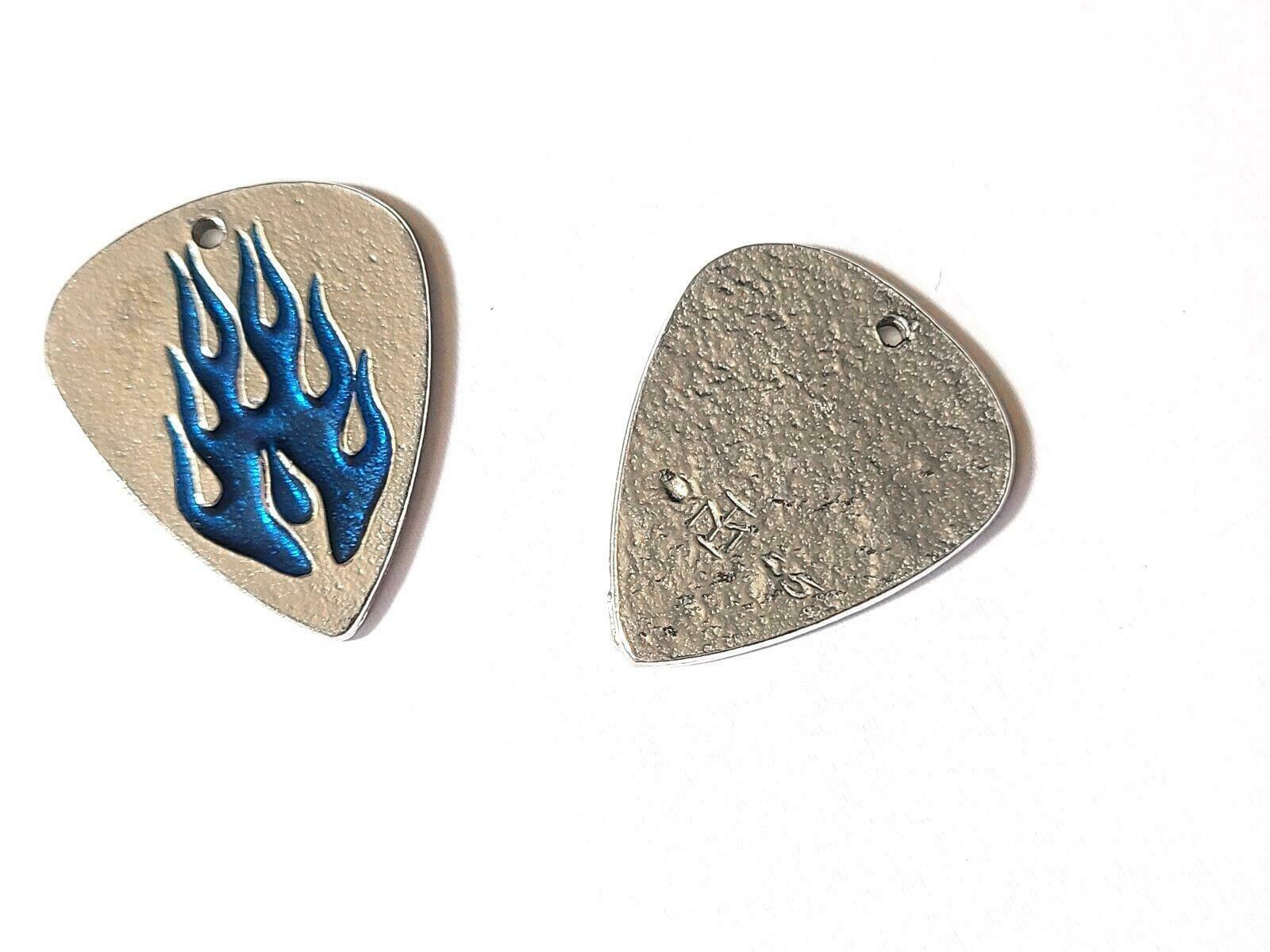 "Flames Guitar Pick Fine Pewter Cast Charm Epoxy Color - ~1 1/4"" Tall"