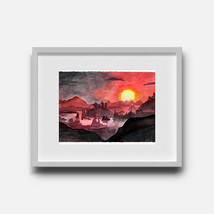 Fiery Dusk - Elder Scrolls Inspired Watercolor Landscape Print - $8.00