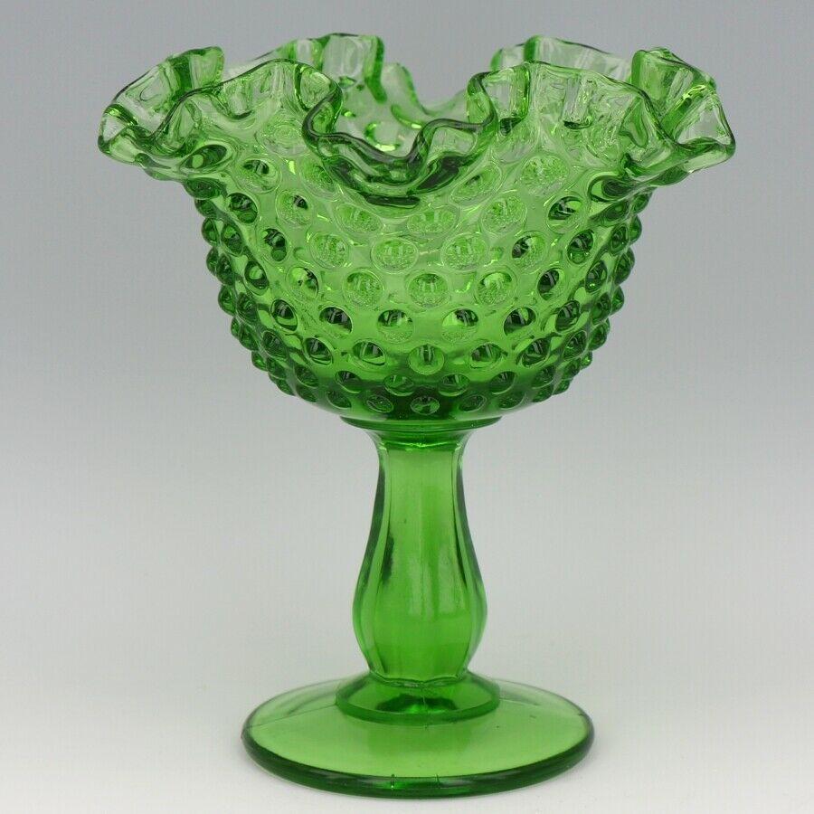 Vintage Fenton Art Glass Springtime Green (1977) Hobnail Footed Comport