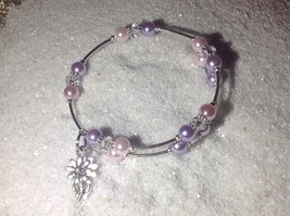 Lovely!  Made *Purple & Pink* Pearl Bead Wire Wrap Silver Bangle Bracelet - $11.95