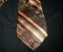 MEN'S ROFFE PLATINUM SERIES BROWN ORANGE PAISLEY STRIPES 100% SILK HAND ... - $5.63