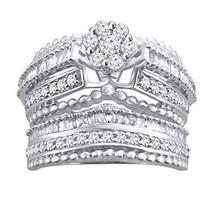 0.82 Ct Round & Baguette Natural Diamond Sterling Silver Engagement Bridal Set - $444.58
