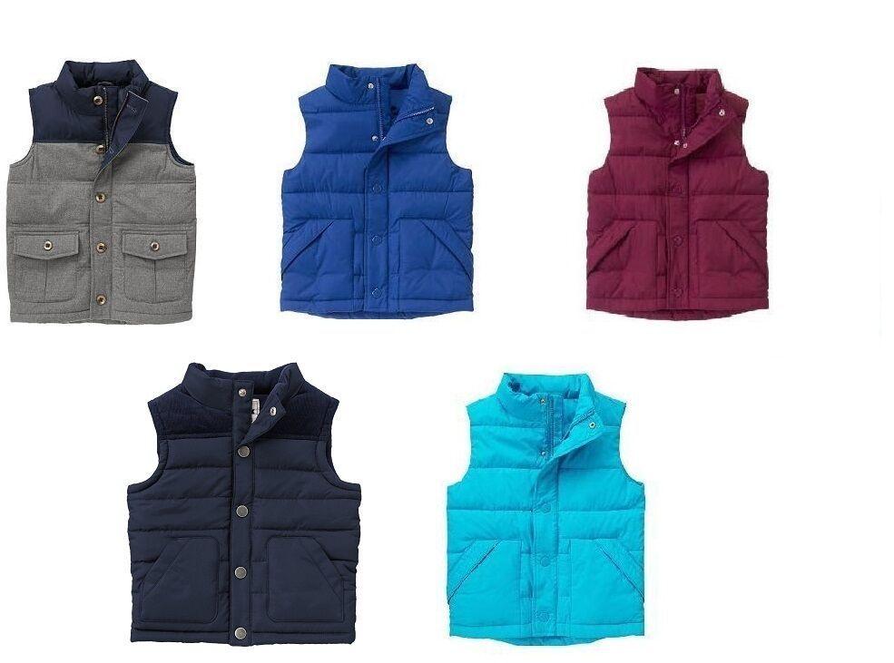 GYMBOREE boys Puffer  Warm Vests Blue, Maroon, Gray  12-24 4 5 6 7 8 - $23.76 - $29.69