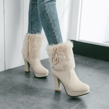 83B007 elegant buckles & pearl chain snow booties US Size 4-8.5, apricot - $1.201,75 MXN