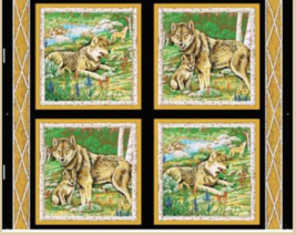 Wolves in The Wild Wolf Pillow panels 100% Cotton Fabric by the panel - $7.51