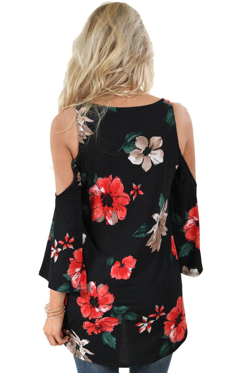 Black Floral Print Three Quarter Sleeve Drop Shoulder Blouse