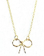 """USA Made By Philippe 14KT Gold Filled Sterling Silver 925 16"""" Mini Bow Necklace"""