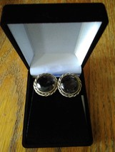 Vintage Grey Crystal Glass Silver Tone Clip-on Earrings - $11.99