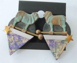 Vintage Jill Schwartz Elements Earrings Ram Sheep Verdigris Mixed Media ... - $39.59