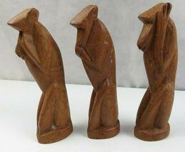 Lot of 3 Vintage African Wood Hand Carved Monkeys Figure See Hear Speak No Evil  image 3