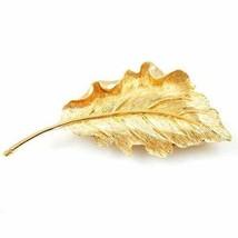 Vintage Brooch SIgned Pastelli Large Goldtone Leaf 1960'S - $23.17