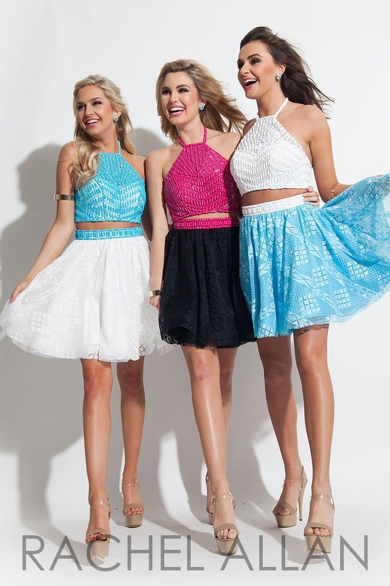Beaded Lace 2-Pc White Blue Sexy Rachel Allan 4027 Short Prom Party Dress