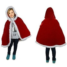 Ladyker Unisex Kids Children Christmas Party Santa Claus Cloak Hooded Ca... - $24.92