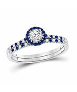 14kt White Gold Diamond Blue Sapphire Bridal Wedding Engagement Set 1/2 ... - £643.38 GBP