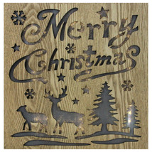 "Diva At Home 12"" Lighted Wooden ""Merry Christmas"" Christmas Wall Decoration - $22.86"