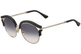 Jimmy Choo Lash Gold Cooper Black Snake Leather Sunglasses PSW9S - $270.85