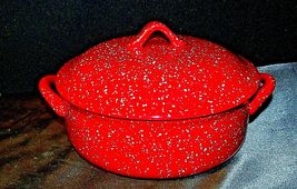 Red W.M.G. Ceramic Double Handle Serving Dish with Lid AA20-2128 Vintage image 5