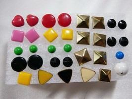 mixed  Lot of 13 plus 7 singles multicolor stud Earrings metal lucite - $23.76