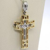 Pendentif Croix or Jaune Blanc 750 18K, Avec Christ, Brillante Et Satin image 4