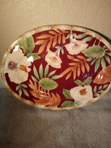 HOME TRENDS--HIBISCUS PLATTER--12 X 9---FREE SHIP-VGC - $37.07