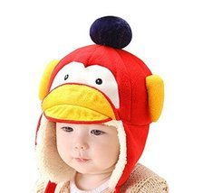 Cute Penguin Baby Hats Polyester Winter Kids Earmuffs Warm Hats RED, 1-4 Years