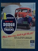 1941 Dodge Truck Ad - Bright Colors - Ideal For Framing. - $8.66
