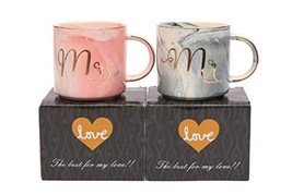 Wedding Gift - Mr and Mrs Mug Set Toshine Cups for Couple Ceramic Gold M... - $19.44