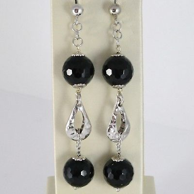 925 STERLING SILVER PENDANT EARRINGS WITH BLACK ONYX & DROPS, 2.95 INCHES LONG