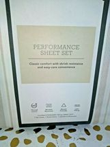 TWIN Sized 400 TC Striped Performance Sheet Set White Beige Threshold Sealed. image 3