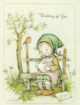 Vintage Thinking of You Card Girl on Bench Annaliese Unused Envelope - $9.89